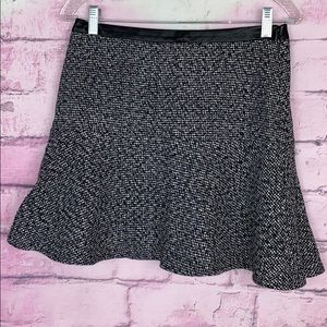 Hinge black white tweed fit and flare skirt 4
